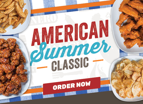 American Summer Classic: 20 Wings, Dressings, Jumbo Side and Dessert for just $25!