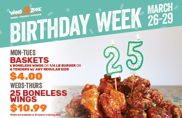 Celebrate with Us for Wing Zone's Birthday Week — March 26-29!